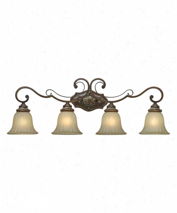 Delightful Lighting 2501-ba4nwb Bristol Invest 4 Light Bath Vanity Light In New World Bronze With Fleur De Lille Glass