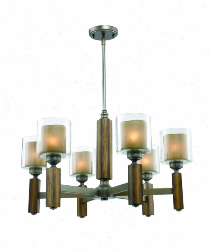 Golden Lighging 5010-6mw Zura 6 Light Single Tier Chanddelier In Mahogany Steel Wash With Amber-touched Pillar Glass