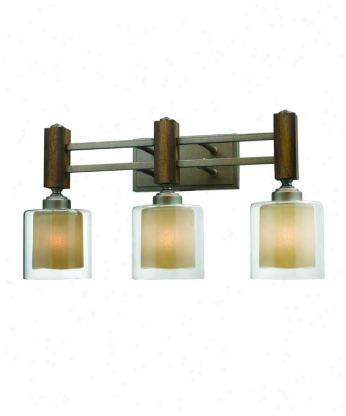 Golden Lightnig 5010-ba3mw Zura 3 Light Bath Vanity Light In Mahogany Steel Wash With Amber-touched Pillar Glass