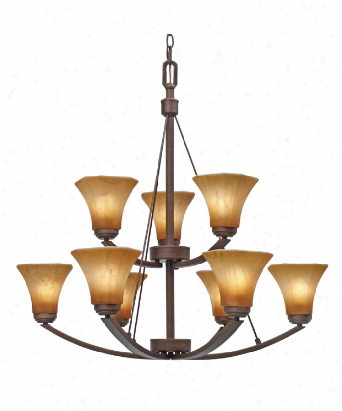 Golden Lighting 7158-9rbz Accurian 9 Light Two Tier Chandelier In Rubbed Bronze Attending Chiseled Antique Marble Glass