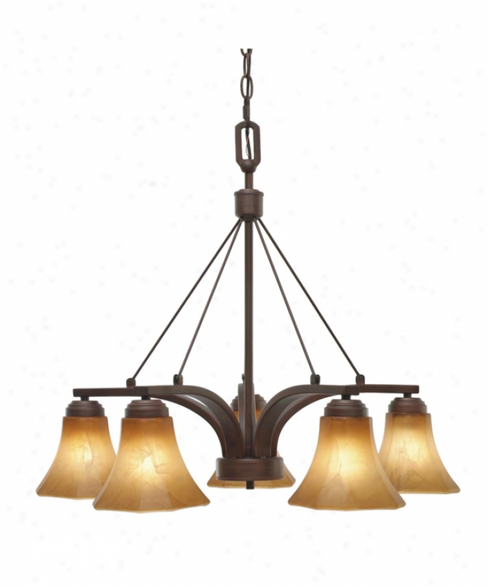 Golden Lighting 7158-d5rbz Accurian 5 Porous Single Tier Chandelier In Rubbed Bronze Wi5h Chiseled Antique Marble Glass