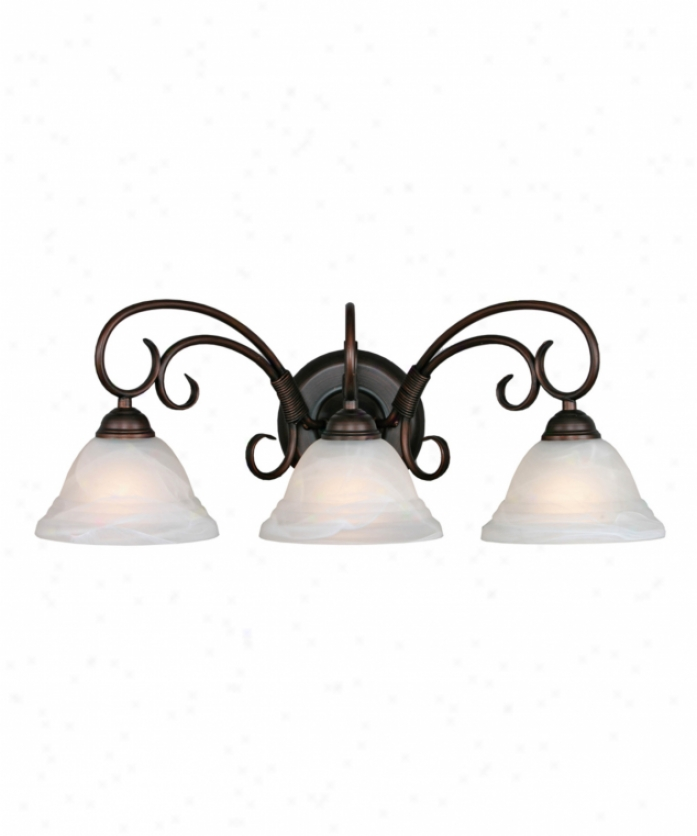 Golden Lighting 8505-3wrbz Homestead Extended elevation 3 Light Bath Vanity Light In Rubbed Bronze With Ridged White Marbled Glass