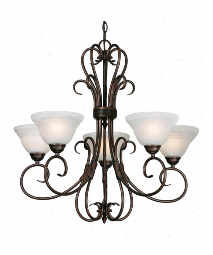 Golden Lighting 8505-5rbz Homestead Ridge 5 Light Single Tier Chandelier In Rubbed Bronze With Ridged White Marbled Glass