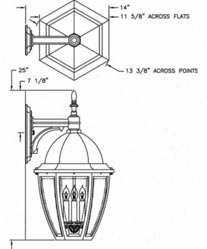 Hanover Lantern B12612absjc4 Sturbridge Large 4 Light Outdoor Wall Light In Antique Brass iWth Clear Bent Beveled Glass