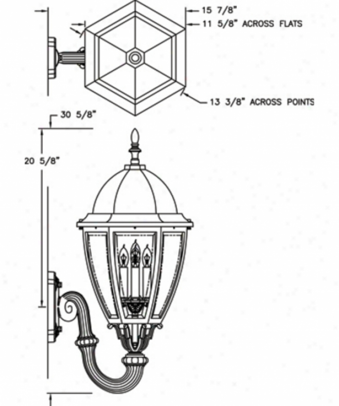Hanover Lantern B126fsmardjc4 Sturbridge Large 4 Light Outdoor Wall Light In Antique Red With Clear Bent Beveled Glass