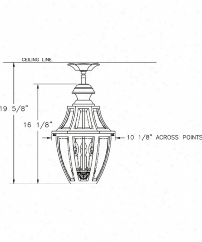 Hanover Lantern B13421bcy Augusta Medium 3 Light Outdoor Flush Mount In Black Cherry With Clear Bent Beveled Glass Glass