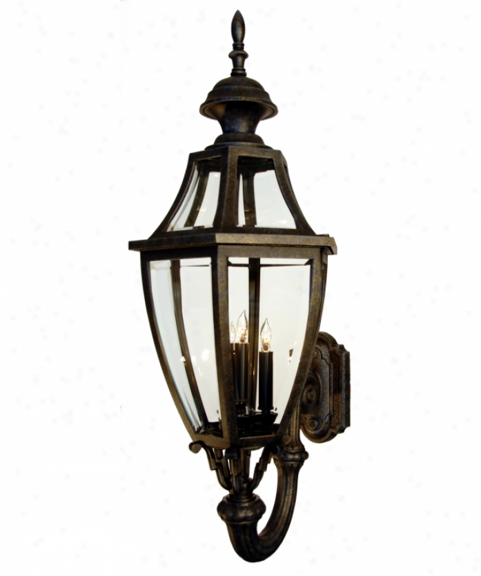 Hanover Lantern B134fsmlbr Augusta Means 3 Light Outdoor Wall Light In Landscape Brown With Clear Bent Beveled Glass Glass