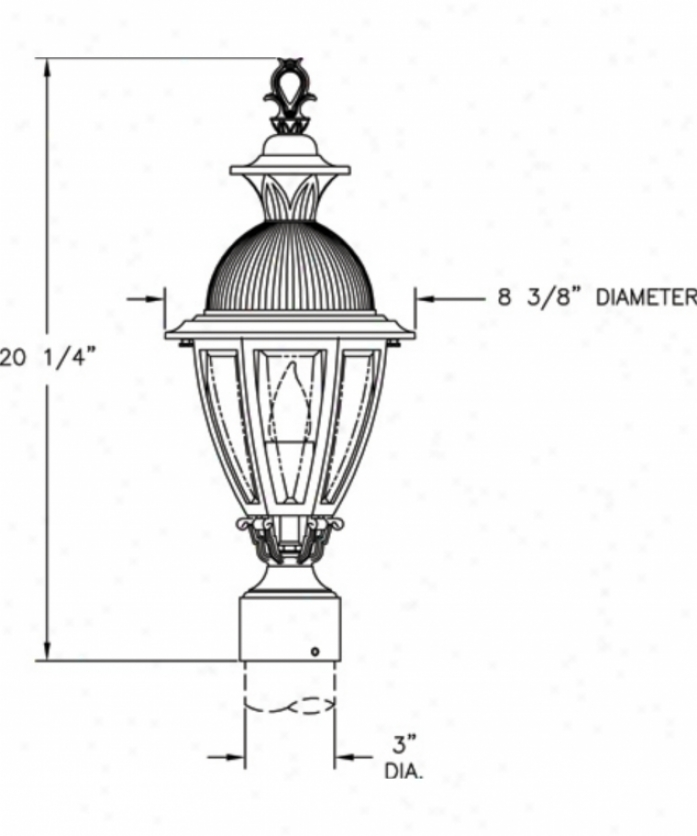 Hanover Lantern B15230bcy Merion Small 1 Unencumbered O8tdoor Post Lamp In Black Cherry With Clear Bent Beveled Glass Glass