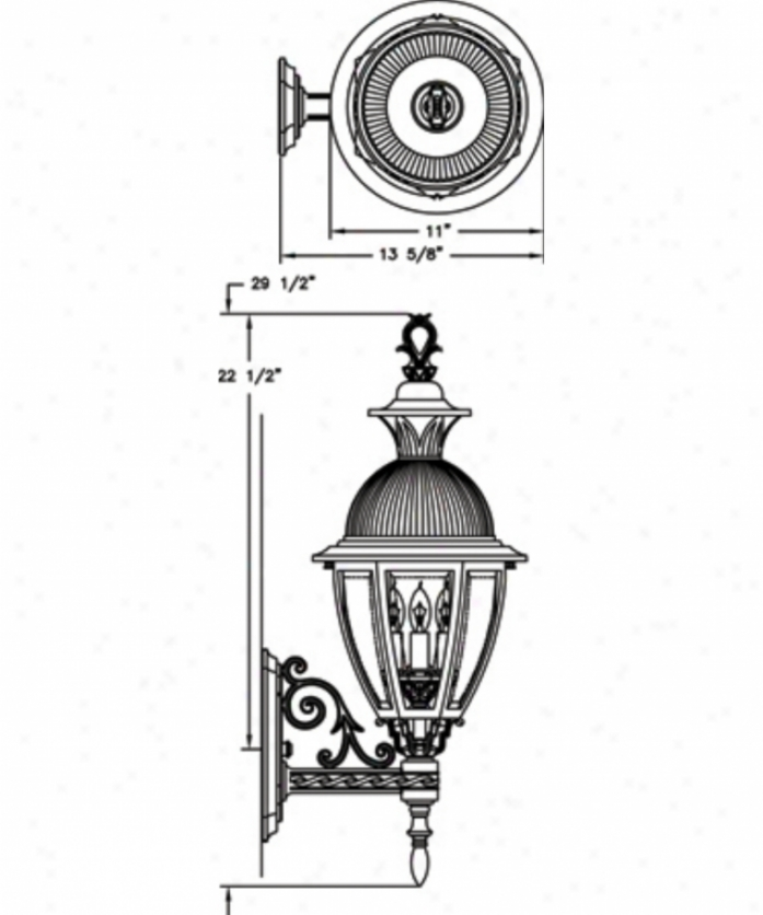 Hanover Lantern B15411bcy Merion Means 3 Light Outdoor Wall Light In Black Cherry With Clear Bent Beveoed Glass Glass