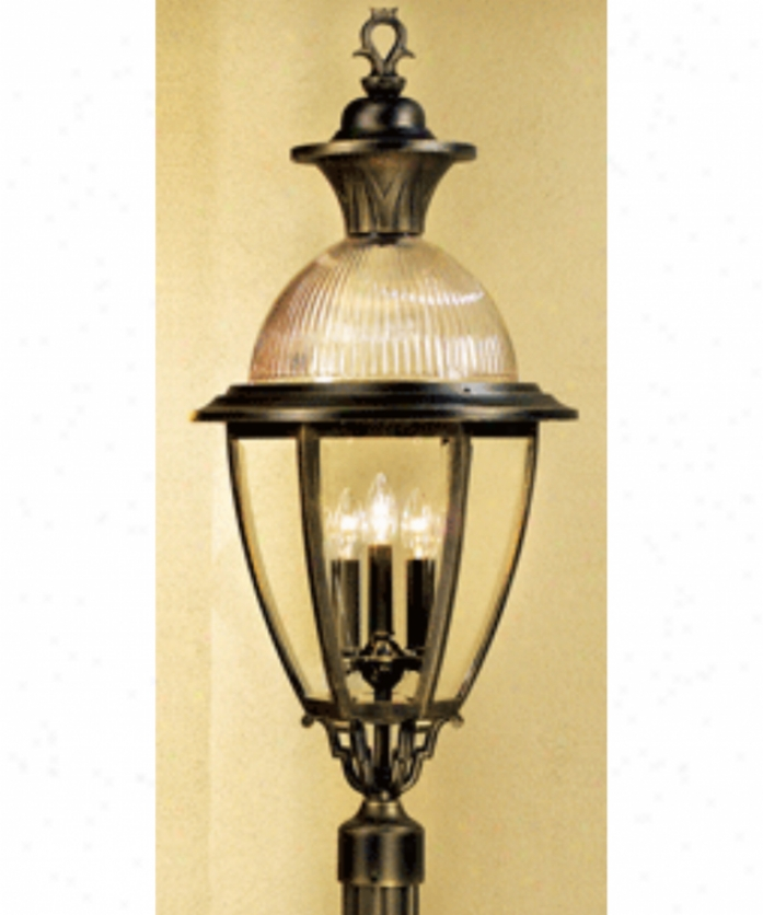 Hanover Lantern B15630lbr Meriob Extensive 4 Light Outdoor Post Lamp In Landscape Brown With Clear Bent Beveled Glass Glass