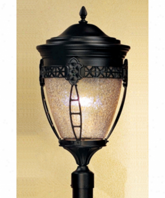 Hanover Lantern B33031aalm North Hills Medium 1 Loght Exterior Post Lamp In Almond With Clear Textured Polycarbonated Globe Glass