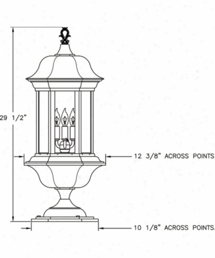 Hanover Lantern B4161absac3 Manor Signature M3dium 3 Light Outdoor Pier Lamp In Antique Braass With Clear Acrylic Glass