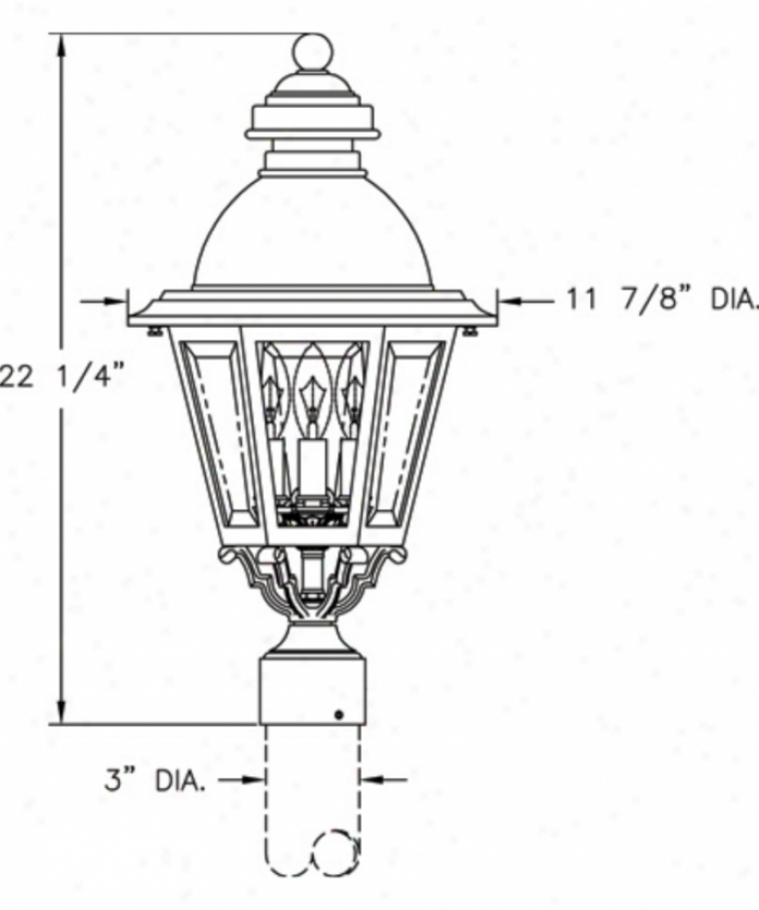 Hanover Lantern B51430asgn South Bend Medium 3 Light Outdoor Post Lamp In Shadow Green With Clear Beveled Glass Glass