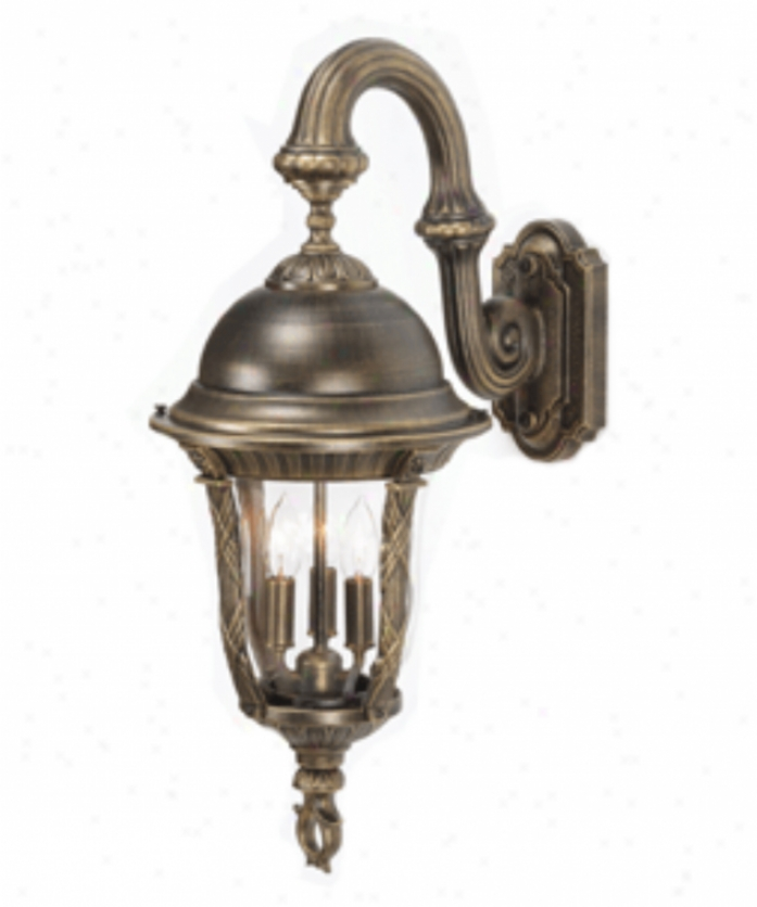 Hanover Lantern B544fdmlbr Milano Medium 3 Light Exterior Wall Light In Landscape Brown With Clear Glass Glass