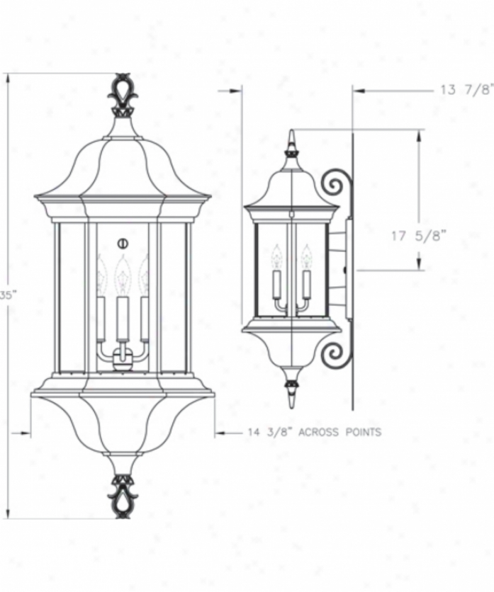 Hanover Lantern B5509bcy Manor Signature Large 4 Light Outdoor Wall Light In Black Cherry With Clear Acrylic Panels Glass