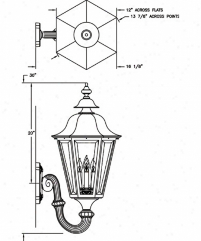 Hanover Lantern B55fsmbcy Manor Large 4 Light Exterior Wall Light In Black Cherry With Clear Beveled Glass Glass