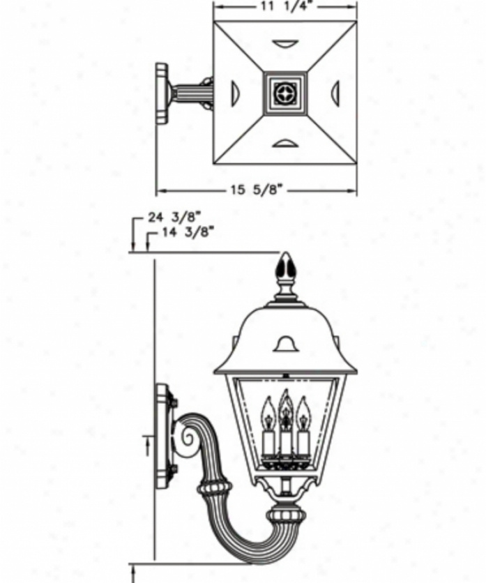 Hanover Lantern B57fsmacpjc4 Jefferson Large 4 Light Outdoor Wall Liyht In Antique Copper With Clear Beveled Glass