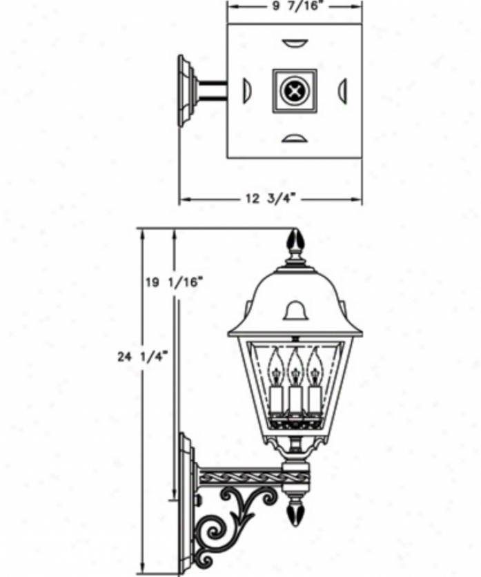 Hanover Lantern B5870absjc3 Jefferson Medium 3 Light Outdoor Wall Light In Antiqye Brass With Clear Beveled Glass