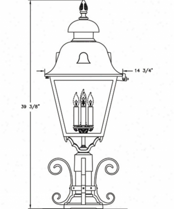 Hanover Lantern B8461lbr Jefferson X-large 4 Light Outdoor Pier Lamp In Landscap eBrown With Clear Acrylic Panels Glass