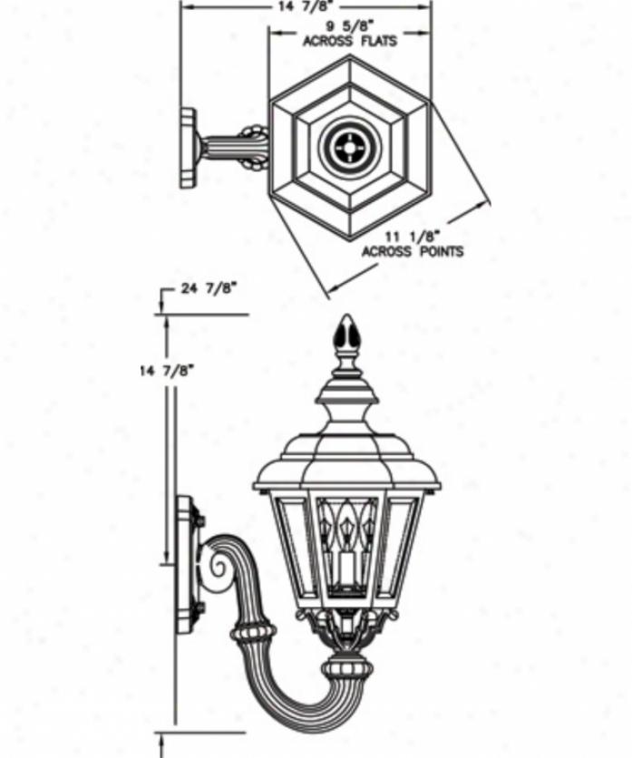 Hanover Lantern B93fsmalm Jamestown Medium 3 Light Exterior Wall Light In Almond With Clear Beveled Glass Glass