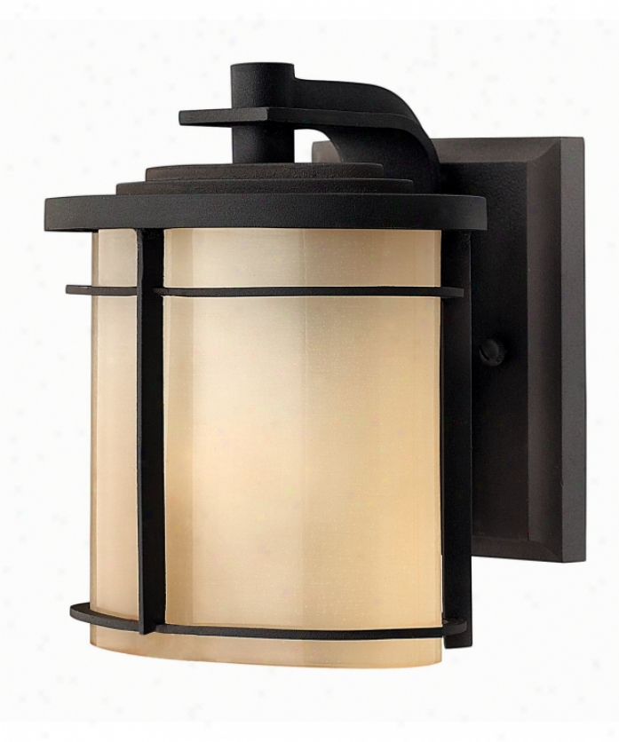 Hinkley Lighting 1126mr-est Ledgewood Energy Smart 1 Light Outdoor Wall Light In Museum Brown With Champatne Inside-etched Glass