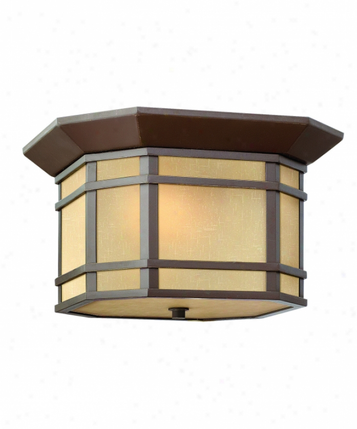 Hinkley Lkghting 1273oz Cherry Creek 2 Light Exterior Flush Mount In Oil Rubbed Bronze With Amber Linen Glass