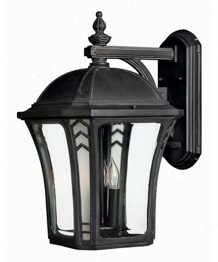 Hinkley Lightiing 1335mb-esds Wabash Energy Expert Dark Sky 1 Light Exterior Wall Light In Museum Black With Clear & Accent Coner Glass