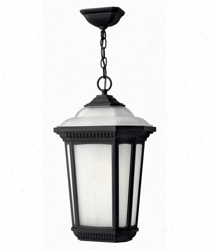 Hinkley Lighting 1342mb-es Park Ridge Energ6 Smart 1 Light Outdoor Hanging Lantern In Museum Black With Etched Seedy And An Etched Roof Glass