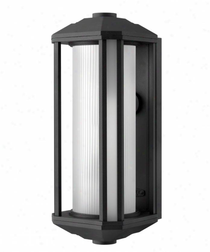 Hinkley Lighting 1395bk Castelle 1 Light Outdoor Wall Light In Black With Etched Ribber Cylinder & Etched Corner Glass