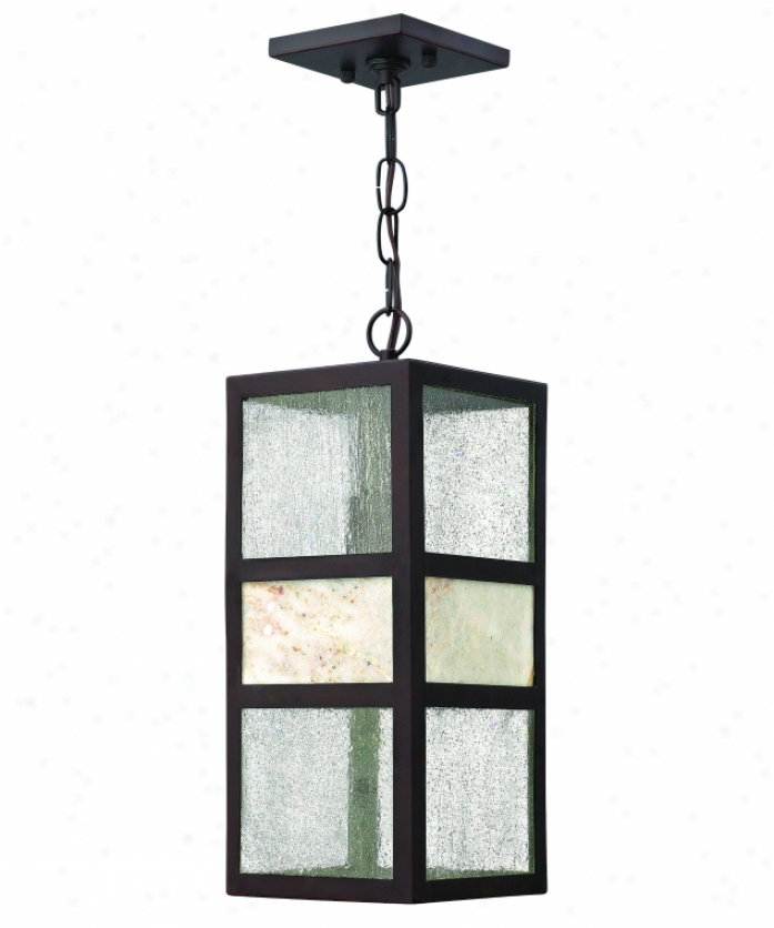 Hinkley Lighting 1452sb Sierra 1 Light Outdoor Hanging Lantern In Spanish Bronxe With Stone And Clear Seedy Glass