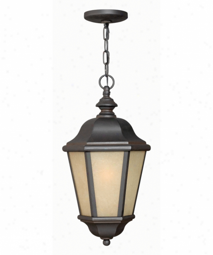 Hinkley Lighting 1682mr-est Edgewater Energy Smart 1 Lkght Outdoor Hanging Lantern In Museum Bronze With Etched Amber Seedy Glass