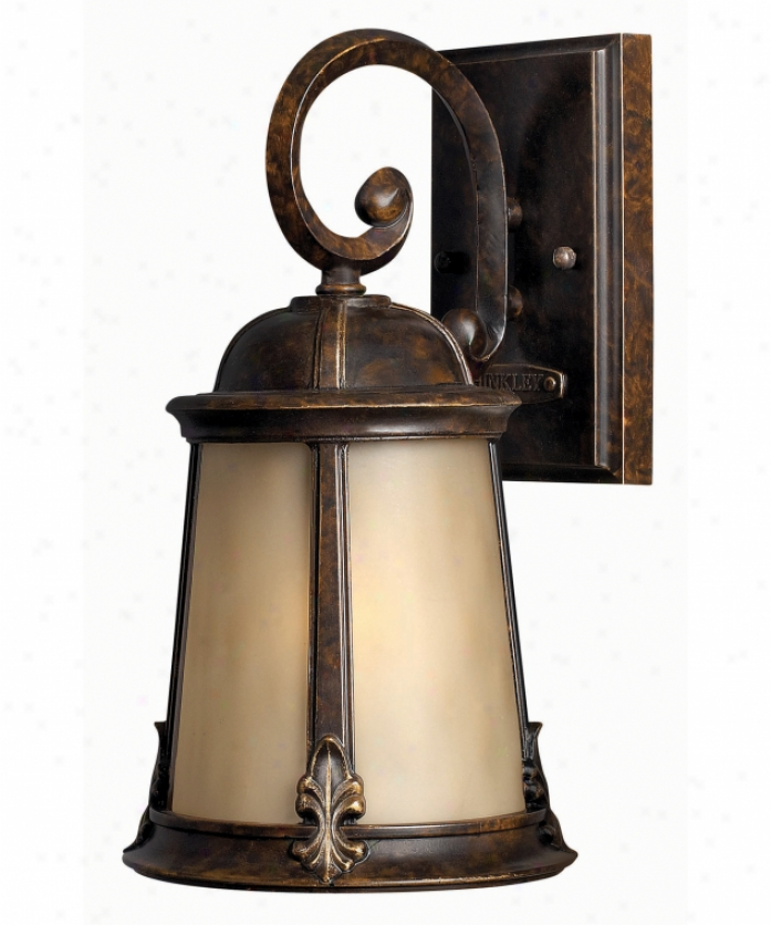 Hinkley Lighting 1820rb-es Coventry Energy Smart 1 Light Outdoor Wall Light In Regency Bronze With Light Amber Etched Optic Glass