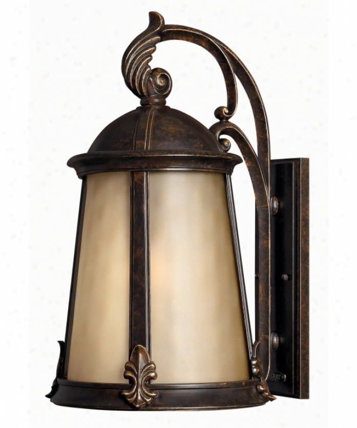 Hinkley Lighting 1825rb-ds Coventry Dark Sky 1 Light Outdoor Wall Light In Rule Bronze With Light Amber Etched Optic Glass