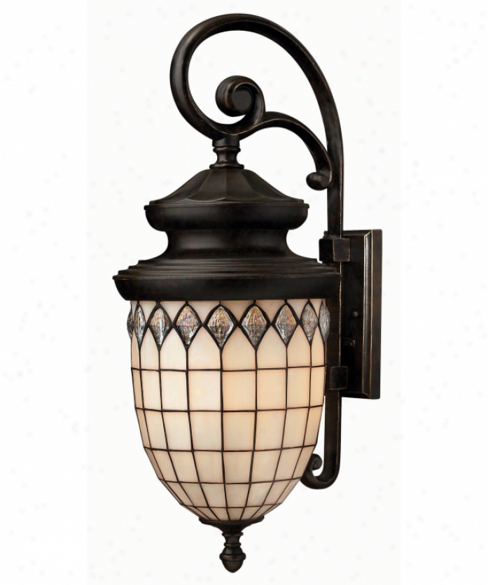 Hinkley Lighting 1865rb Innsbruck 4 Light Outdoor Wall Light In Regency Bronze With Copper Fol Art Glass
