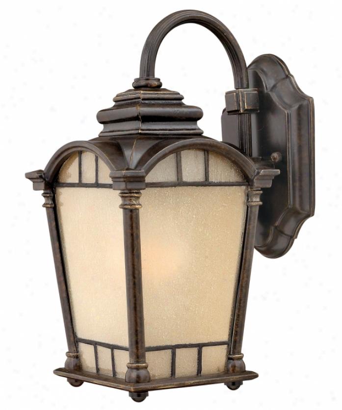 Hinkley Lighting 2160rb-es Wellington Energy Smaart 1 Light Outdoor Wall Light In Regency Bronze With Amber Etched Seedy Glass