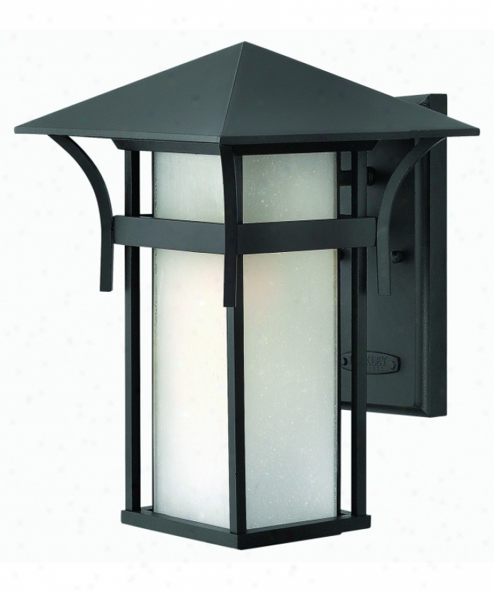 Hinkleu Lighting 2574sk Harbor 1 Light Outdoor Wall Ligh Tin-plate Satin Black With Etched Seedy Bound Glass
