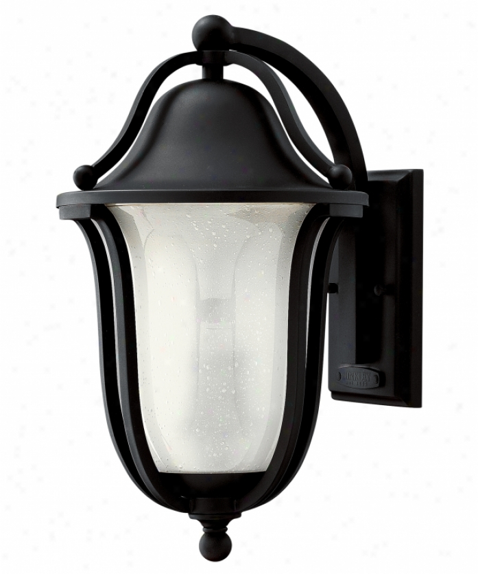 Hinkley Lighting 2634bk-est Bolla Exterior Energy Smart 1 Light Outdoor Wall Light In Black With Clear Seedy Etched Glass