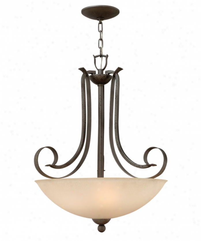 Hinkley Lighting 3762fi Middlebury 3 Light Ceiling Pendant In Forged Iron With Speckled Frivolous Amber Etched Glass