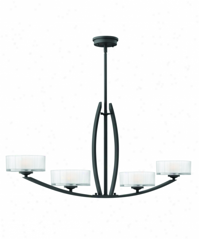 Hinkley Lighting 3874sk Meridian 4 Light Islanf Light In Satni Black With Thick Faceted Clear Inside-etched Glass