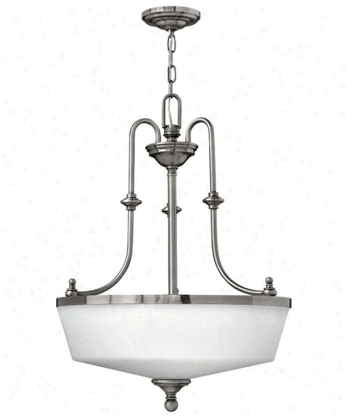 Hinkley Lighting 3982pl Easton 3 Light Ceiling Pendant In Polished Antique Nickel Attending Etched Opal Glass