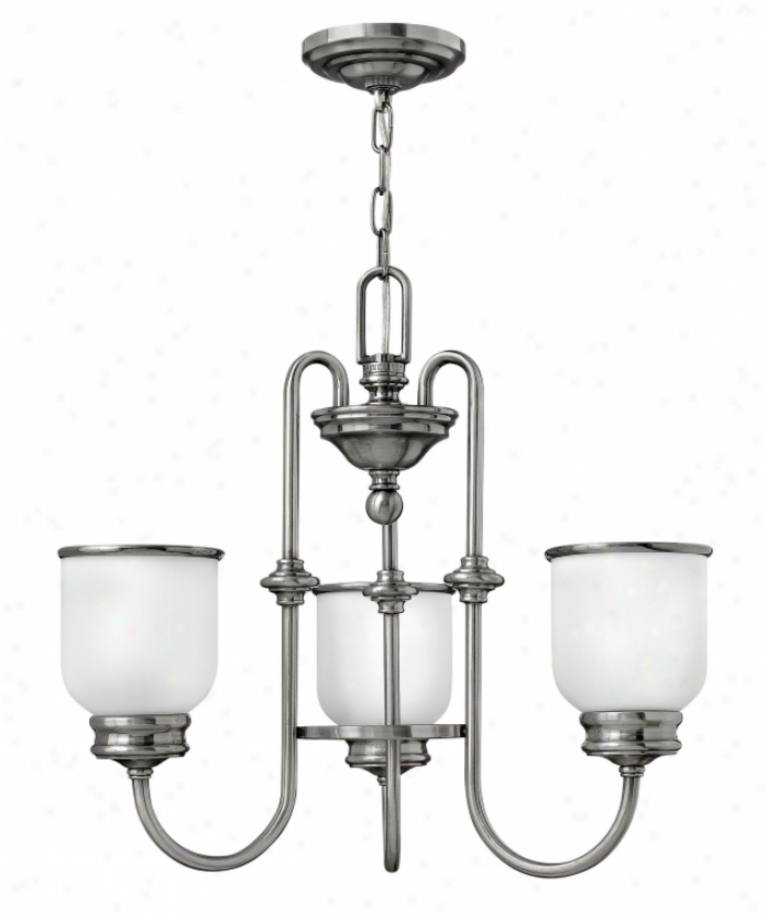 Hinkley Lighting 3983pl Easton 3 Light Single Tier Chandelire In Polished Ancient rarity Nickel With Etched Opal Glass