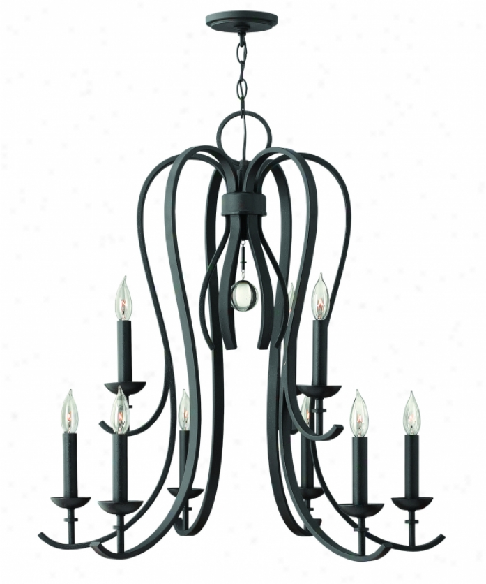 Hinkley Lighting 4478tb Marion 9 Light Two Tier Chandelier In Textured Blwck With Crystal Sphere Accents Crystal
