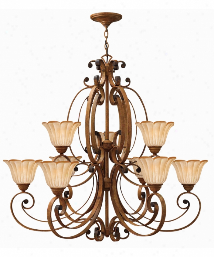 Hinkley Lighting 4538ad Petals 9 Bright Two Tier Chandelier In Antique Gold Finish With Amber-lined White Painted Glaas