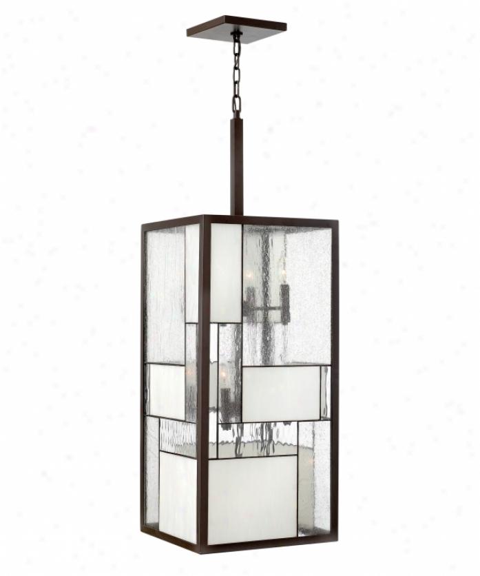 Hinkley Lighting 4576kz Mondrian 12 Light Foyer Lantern In Buckeye Bronze Upon Copper Foil Bound Glass