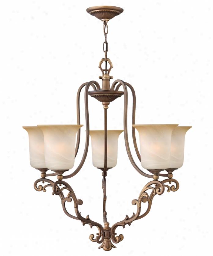 Hinkley Lighting 4765ry Maribella 5 Light Single Row Chandelier In Royal Bronze With Liht Amber Tinted Nuage Glass