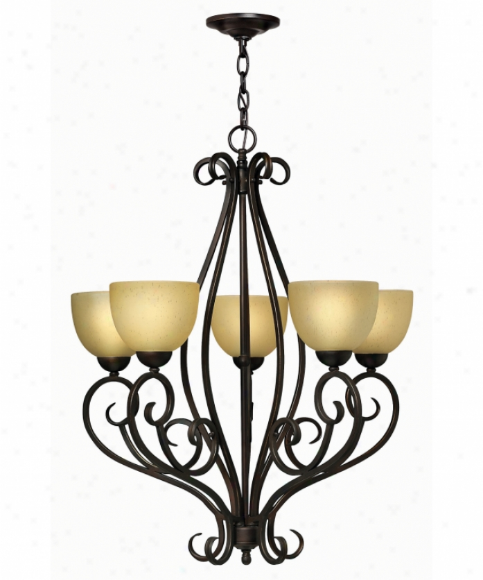 Hinkley Lignting 4815ri Canyon Ridge 5 Light Single Tier Chandelier In Swain Iron With Hand-finiwhed Shades Glass