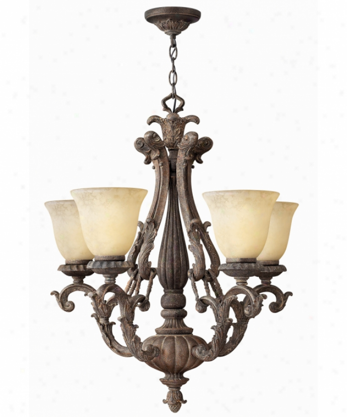 Hinkley Lighting 4825cc Firenze 5 Light Single Tier Chandelier In Charcoal Crackle With Hand-decorated Shades Glass