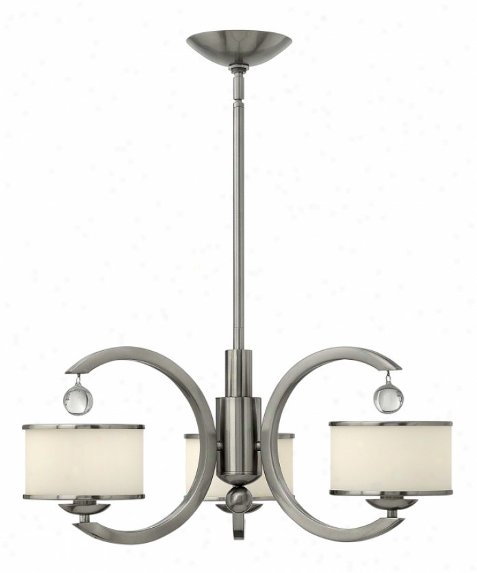 Hinkley Lighting 4853bn Monaco 3 Light Single Tier Chandelier In Brushed Nickel With Etched Opal With Bn Trim Ring Glass