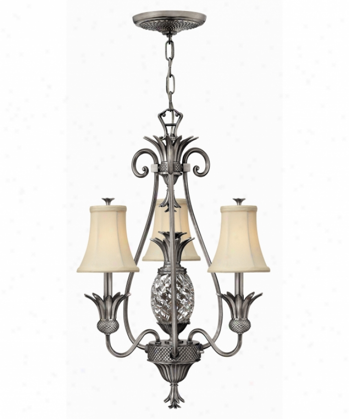 Hinkley Lighting 4883pl Plantation 4 Light Single Row Chandelier In Polished Antique Nickel With Clear Optic Glass