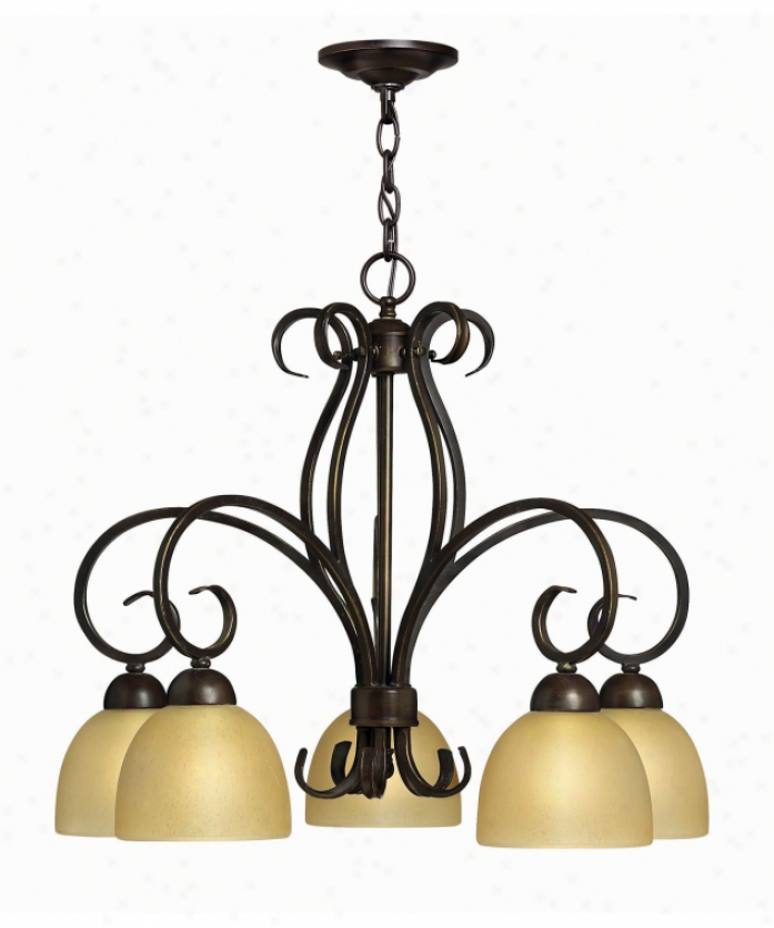 Hinkley Lighting 4919ri Canyon Ridge 5 Ligut Single Tier Chandelier In Rustic Iron With Hand-finished Shades Glass